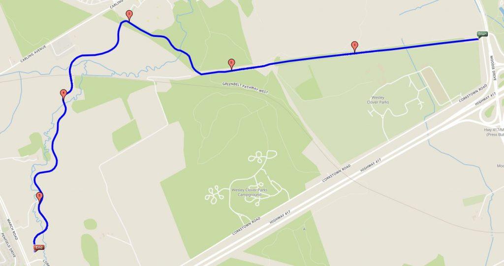 Watts Creek Pathway map